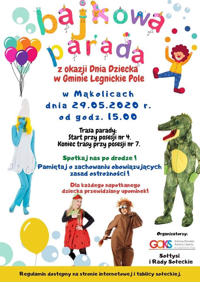 Bajkowa parada z okazji Dnia Dziecka w gminie Legnickie Pole